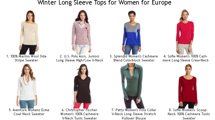 Winter Long Sleeve Tops for Women for Europe