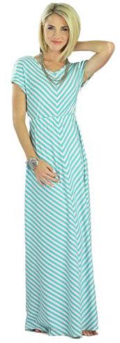 Mikarose Floor-Length Short Sleeve Maxi Dress- Makenna Teal, Size SM (4-6)