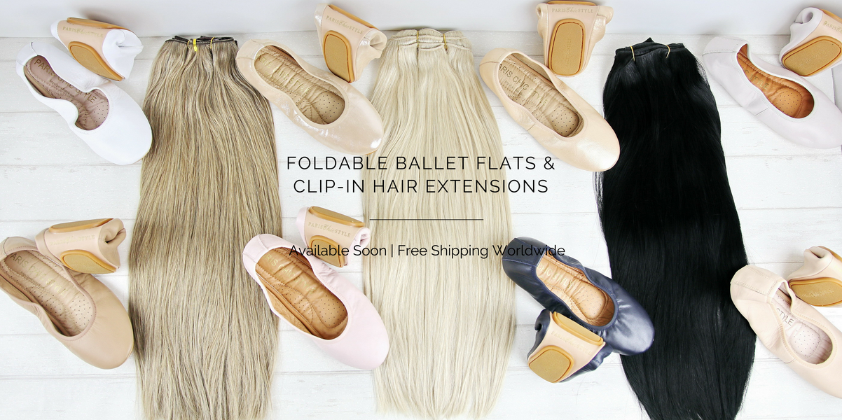 Copy of 1 Fashion Travel Accessories Paris Chic Style Foldable Ballet Flats & Clip- In Hair Extensions (1)_resize