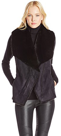 BCBGMAXAZRIA Women's Stefano Draped Vest, Black