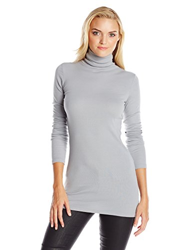 Michael Stars Women's Supima Long Sleeve Turtleneck Tunic, Smoke, One Size