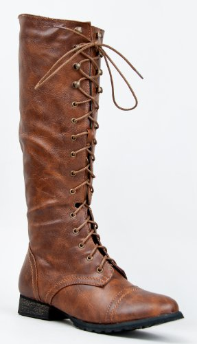 Breckelles Outlaw-13 Women's Knee High Lace Up Combat Boots