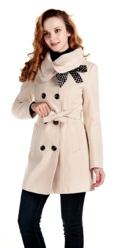 Lanhuacao Women Wool Blends Coat Slim Trench Winter Coat Long Jacket Outwear Beige S