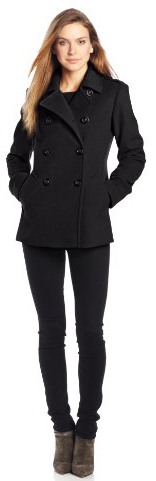 Ladies Black Pea Coat - JacketIn