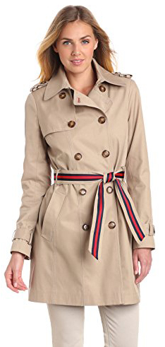 Tommy Hilfiger Women's Double Breasted Trench Coat with Striped Belt, Sand