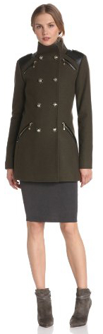 Vince Camuto Women's Military Double Breasted Wool Coat, Olive