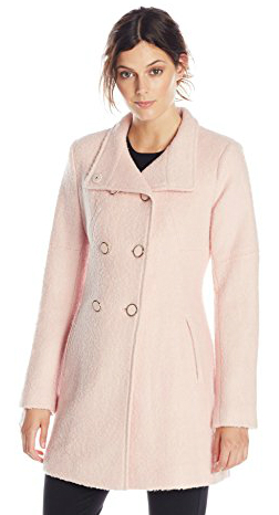 18.Jessica Simpson Women's Double-Breasted Boucle Wool Coat, Blush, Medium
