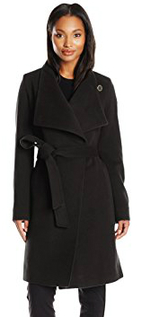 21.Anne Klein Women's Wool Cashmere Wrap Coat with Belt, Black, 10