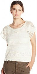 11 Democracy Women's Tiered Woven Short Sleeve Crochet Top with Fringe Hem
