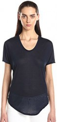 12 Helmut Lang Women's Entity Jersey Scoop Neck Short Sleeve Tee Shirt