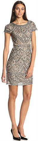 12 Summer dress Paris Adrianna Papell Women's Cap Sleeve Short Beaded Dress with Diamond Contrast Beading