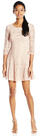 2 Summer Dress Paris Speechless Junior's Lace Sleeve Tie Back Fit and Flare Dress
