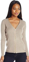 3 Summer Cardigans Paris Calvin Klein Women's Ribbed Zipper Front Cardigan