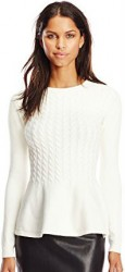 6 Fall Tops Paris Ted Baker Women's Mereda Cable-Knit Peplum Sweater