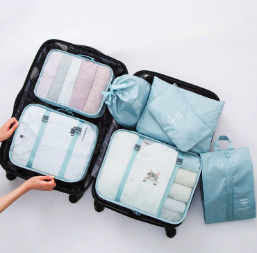 Best travel packing cubes luggage organizer lightweight durable fashion travel accessories sky blue 5