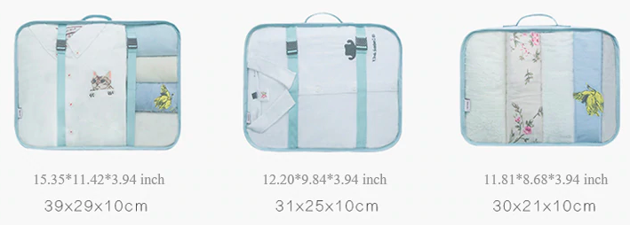 Best travel packing cubes luggage organizer lightweight durable fashion travel accessories sky blue 5.8 Measurements 2