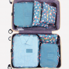Best travel packing cubes luggage organizer lightweight durable fashion travel accessories watermelon blue flowers 4.1